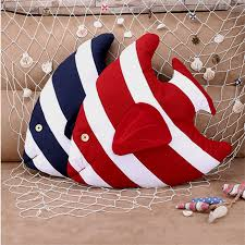 Mediterranean Style Fish Shaped Cushion Cotton Linen Pillow For Home Sofa Car Kids Room Decoration Children