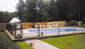 All Black Vinyl Chain Link Fence System Meeting Ma State Pool Regulations Fence Around Pool Black Chain Link Fence Pool Landscaping