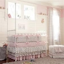 pink and gray chevron crib bedding