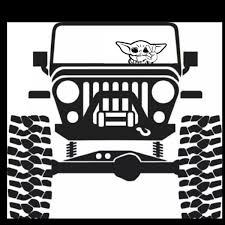 Baby Yoda Jeep Decal In 2020 Jeep Decals Jeep Wrangler Stickers Jeep Wrangler Accessories