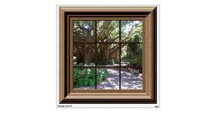 Banyan Tree Fake Window View Wall Decal Zazzle Com