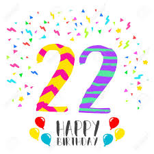 Numero 22 Del Feliz Cumpleanos Tarjeta De Felicitacion Por Veinte