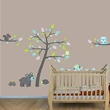 Amazon Com Teal Gray Animals With Tree Forest Wall Decals Nursery Wall Decal Baby