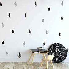 Amazon Com Melissalove 40pcs Set Large Tree Wall Stickers For Kids Room Nordic Pine Tree Wall Decals Baby Nursery Diy Stickers Jw581 Black Light Grey Arts Crafts Sewing