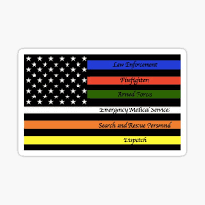 Police Firefighter Military Ems And Search And Rescue Dispatch Thin Line Sticker By Kerimig Redbubble
