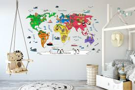 World Map Wall Decal World Map Decal Wall Decals For Kids Playroom Wall Decals Wall Decals For Nur Kids Wall Decals World Map Wall Decal Kids World Map