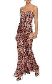 ALONI Mimi Tiger-Print Silk-Satin Slip Brown Dress - We Select Dresses