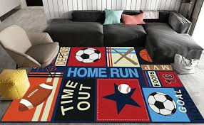 Amazon Com Fun Sport Kids Rugs Nylon Carpet Soccer Baseball Football Basketball With Multi Color For Boy Girl Playroom 100130cm 39 51 Furniture Decor