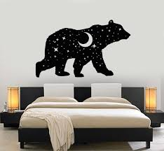 Vinyl Wall Decal Bear Animal Night Sky Moon Stars Bedroom Stickers Mur Wallstickers4you