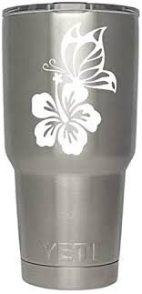 Amazon Com Butterfly Flower Decals White For Yeti Cups Tumbler Not Included Sticker For Tumbler Decals For Tumblers Cup Decals Mug Decals Car Sticker Car Decal Window