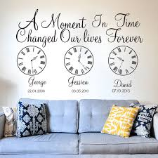 Custom Name Kids Birth Date Wall Decal Kids Room Bedroom A Moment In Time Changed Our Lives Clock Wall Sticker Vinyl Nursery Art Wall Stickers Aliexpress