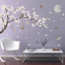 Amazon Com Rw 2022 Removable Diy Romantic Warm White Cherry Blossom Tree And Flower Wall Decal 3d Wall Art Stickers Murals Home Decor For Kids Gilrs Bedroom Baby Nursery Rooms Living Room Offices Decoration