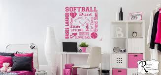 Softball Wall Decal Softball Word Art 2 For Girls Room Girls Etsy