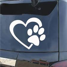 Cute Dog Paw With Peach Heart Car Sticker Cartoon Animal Car Decals Buy At A Low Prices On Joom E Commerce Platform