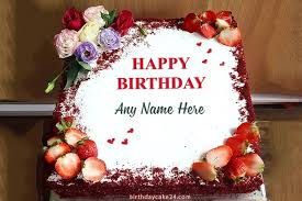red velvet birthday cake with name edit