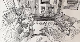 This Artist Creates Incredible Drawings of the Room He's in From His  Perspective | Search by Muzli