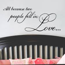 Zooyoo All Because Two People Fell In Love Birds Vinyl Lettering Quotes Wedding