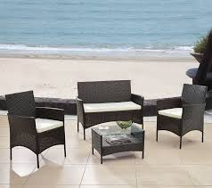 brown wicker garden patio set 4 pcs
