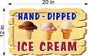 12 X 20 Wooden Background Hand Dipped Ice Cream Food Truck Restaurant Cafe Vinyl Decal Window Or Wall Mural Amazon Com