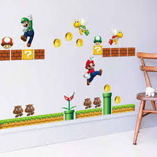 Super Mario Large Wall Stickers 3d Removable Decals Vinyl Art Kids Nursery Decor Red Hat Mary Runs Side Wall Sticker Wall Stickers Aliexpress
