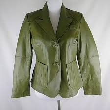 womens leather jacket green size 10p