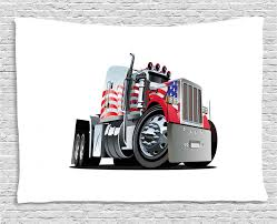 Truck Tapestry American Flag Themed Semi 18 Wheeler Patriotic Transportation Industrial Vehicle Wall Hanging For Bedroom Living Room Dorm Decor 60w X 40l Inches Red White Blue By Ambesonne Walmart Com