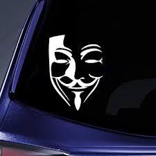 Amazon Com Bargain Max Decals 2x V For Vendetta Graffiti Anonymous Mask Revolution Sticker Decal Notebook Car Laptop 6 White Automotive