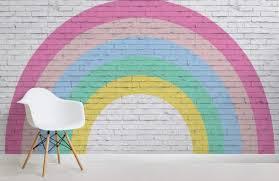 rainbow brick wallpaper cute nursery