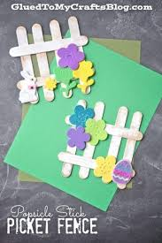 Popsicle Stick Picket Fence Kid Craft Idea For Spring Popsicle Crafts Crafts For Kids Easter Crafts For Kids