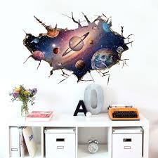 Wall Stickers Space Kids Astronaut Cool Bedroom Smashed Decal 3d Art Vinyl Room Home Garden Decor Decals Stickers Vinyl Art