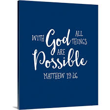 Greatbigcanvas Matthew 19 26 Scripture Art In White And Navy By Inner Circle Canvas Wall Art 2435242 24 16x20 The Home Depot