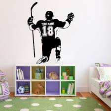 Hockey Player Wall Decals Personalized Name And Number Boys Room Decoration Vinyl Wall Stickers School Dormitory Art Decor Y992 Wall Stickers Aliexpress