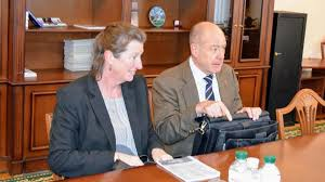 In the NISS a meeting occured between the leadership of the Institute,  Defence Advisor of the Ministry of Defence of Ukraine from Great Britain Lynda  Smith, and Deputy Defence Advisor of the