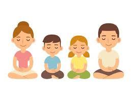 Dibujos Animados Niños Meditando, Niño Y Niña. Ilustración Linda ...