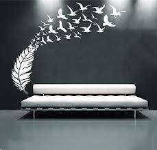 Amazon Com Amaonm 67 X63 Large Removable Creative 3d Vinyl Feather And Flying Birds Wall Sticker Decals Home Wall Art Decoration Decor Living Room Bedroom Wall Decal Wallpaper Office Wall Sticker White Home
