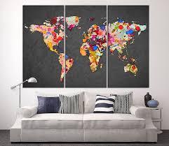 3 Piece World Map Canvas Print On Gray Background Large World Map Extra Large Wall Art Canvas Print