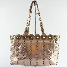 isabella fiore rose gold leather bag
