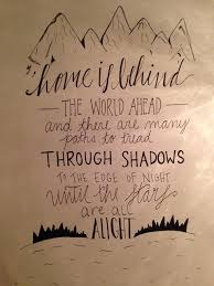 home is behind the world ahead calligraphy lotr quotes tolkien