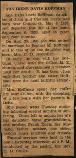 Obituary of Ada Davis Hoffman