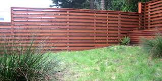 Horizontal Fence Alternating Placements On Either Side Of Fence Creates Room For Plants To Climb Through And Screene Modern Fence Backyard Fences Brick Fence