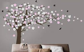 Amazon Com Large Cherry Blossom Tree Blowing In The Wind Tree Wall Decals Wall Sticker Vinyl Wall Art Kids Rooms Teen Girls Boys Wallpaper Wall Stickers Room Decor Black Tree White And Pink