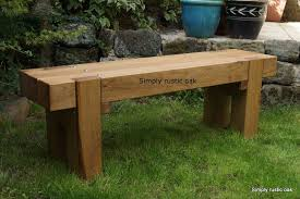 rustic oak 2 beam long garden bench