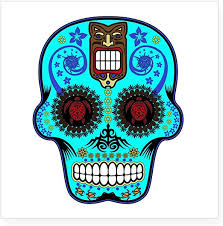 Amazon Com Cafepress Candy Skull Light Blue Hawiian Shirt Sticker Square Bumper Sticker Car Decal 3 X3 Small Or 5 X5 Large Home Kitchen