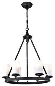 6 light antique black white glass shade