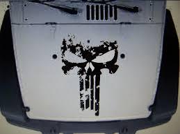 Jeep Wrangler Distressed Punisher Skull Hood Decal Jk Tj Yj Cj