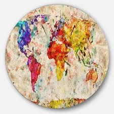 Designart Vintage World Map Watercolor Map Circle Metal Wall Art In The Wall Art Department At Lowes Com