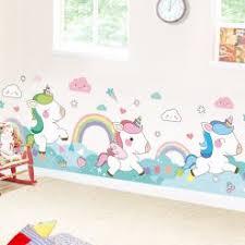 Waliicorners Cartoon Unicorn Rainbow Wall Stickers Diy Animal Mural Decals For Kids Room Kindergarten Baby Bedroom Decoration Waliicorner S Store