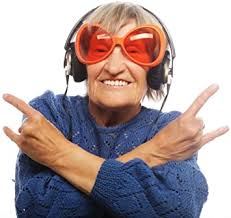 Amazon Com Wallmonkeys Fot 77062741 18 Wm324392 Funny Old Lady Listening Music And Showing Thumbs Up Peel And Stick Wall Decals 18 In W X 17 In H Small Home Kitchen