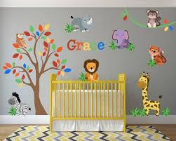 Jungle Animal Safari Lion Giraffe Wall Decals Kids Stickers Etsy In 2020 Safari Theme Nursery Jungle Nursery Decor Jungle Wall Decals
