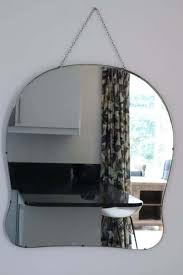 extra large art deco frameless mirror